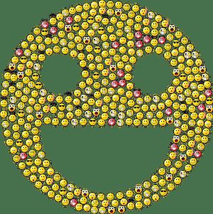 En stor smiley emoji tillverkad av massvis med mindre emojis